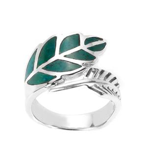 Chrysocolla Leaf Ring  in Sterling Silver 3cts