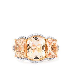 Alto Ligonha Morganite Ring with White Zircon in 10k Rose Gold 5.28cts