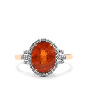 Mandarin Garnet Ring with Diamond in 18K Gold 4.48cts