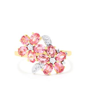 Sakaraha Pink Sapphire Ring with White Zircon in 10k Gold 2.24cts