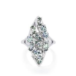 Bi-Color Tanzanite & White Topaz Sterling Silver Ring ATGW 2.51cts