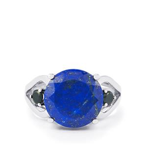 Sar-i-Sang Lapis Lazuli & Black Spinel Sterling Silver Ring ATGW 6cts