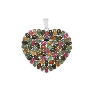 Rainbow Tourmaline Pendant in Sterling Silver 18.22cts