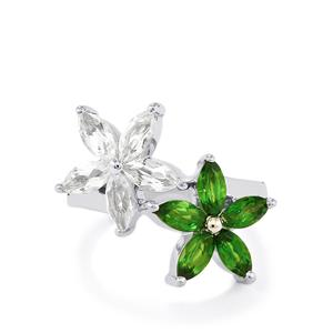 Chrome Diopside & White Topaz Sterling Silver Ring ATGW 2.87cts