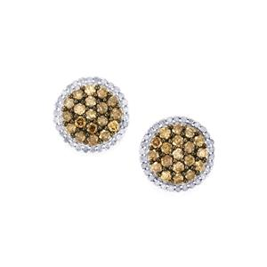 Champagne with White Diamond Earrings in Sterling Silver 1.40cts