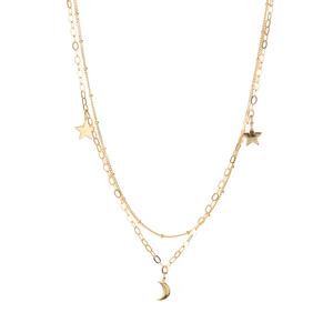 Gold Tone Sterling Silver Moon and Star Necklace 6.41g