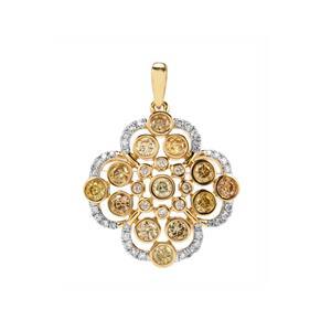Natural Coloured Diamond Pendant with White Diamond in 18K Gold 1.20ct