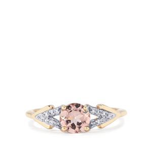 Alto Ligonha Morganite & White Zircon 9K Gold Ring ATGW 0.79cts