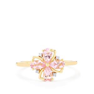 Imperial Pink Topaz & Diamond 9K Gold Ring ATGW 0.91cts