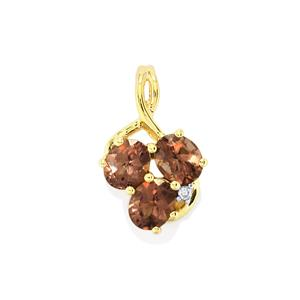 Bekily Color Change Garnet Pendant with White Zircon in 10k Gold 1.23cts