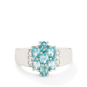 Madagascan Blue Apatite & White Topaz Sterling Silver Ring ATGW 1.34cts