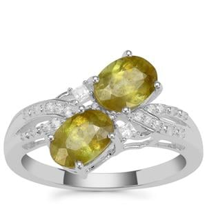 Ambilobe Sphene Ring with White Zircon in Sterling Silver 2.13cts