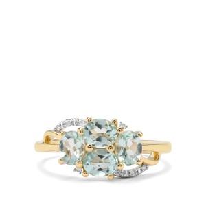 Aquaiba™ Beryl & Diamond 9K Gold Ring ATGW 1.23cts