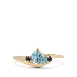 Ratanakiri Blue Zircon & Sri Lankan Sapphire 9K Gold Ring ATGW 1.40cts