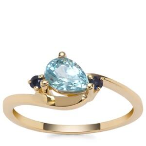Ratanakiri Blue Zircon Ring with Sri Lankan Sapphire in 9K Gold 1.40cts