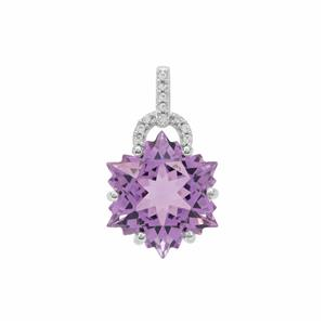 Wobito Snowflake Cut Ametista Amethyst Pendant with White Zircon in 9K White Gold 7.30cts