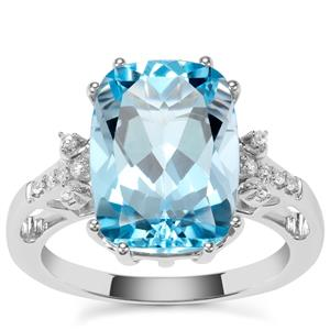 Versailles Topaz Ring with White Zircon in Sterling Silver 8.12cts