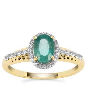 Zambian Emerald & White Zircon 9K Gold Ring ATGW 1.12cts