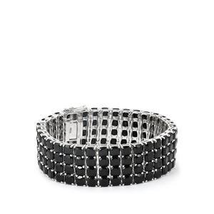 111.79ct Black Spinel Sterling Silver Bracelet