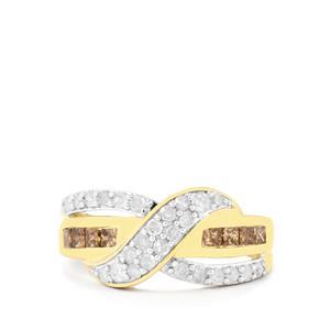 1ct Champagne & White Diamond 10K Gold Tomas Rae Ring