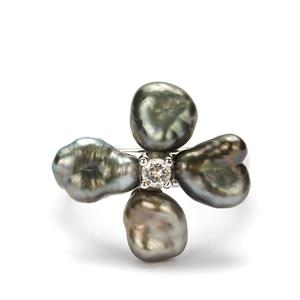 Tahitian Cultured Pearl Ring with White Topaz in Sterling Silver