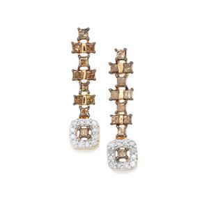 3/4ct Champagne & White Diamond 10K Gold Earrings