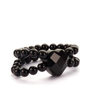Black Obsidian Stretchable Heart Bracelet 310cts