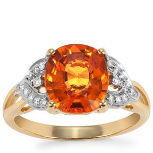 Mandarin Garnet Ring with Diamond in 18k Gold 3.76cts