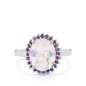 Lavender Quartz Ring with Amethyst in Sterling Silver 3.54cts