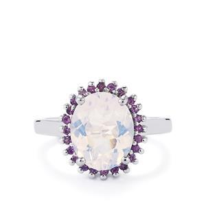 Lavender Quartz & Amethyst Sterling Silver Ring ATGW 3.54cts