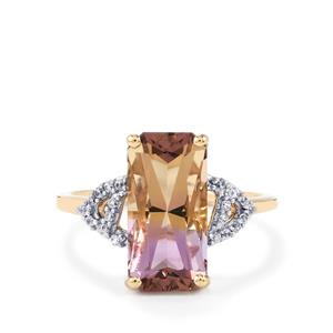 Anahi Ametrine & White Zircon 9K Gold Ring ATGW 4cts