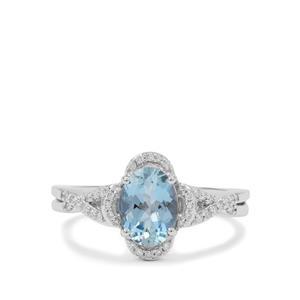 Nigerian Aquamarine Ring with White Diamond in 18K White Gold 1.45cts