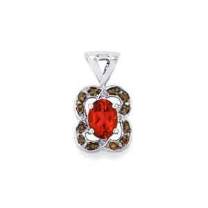 Cruzeiro Topaz Pendant with Champagne Diamond in Sterling Silver 1.55cts