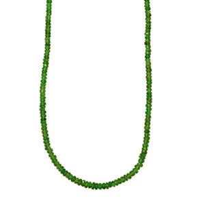 48.50ct Chrome Diopside Sterling Silver Graduated Bead Necklace