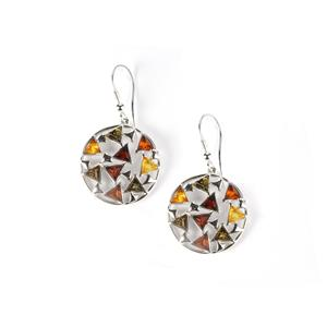 Baltic Cognac, Champagne, Green & Cherry Amber Sterling Silver Earrings