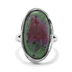 13.29ct Ruby-Zoisite Sterling Silver Ring