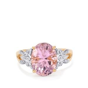 Mawi Kunzite Ring with Diamond in 18k Gold 5.74cts