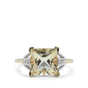 Serenite & Diamond 9K Gold Ring ATGW 3.19cts
