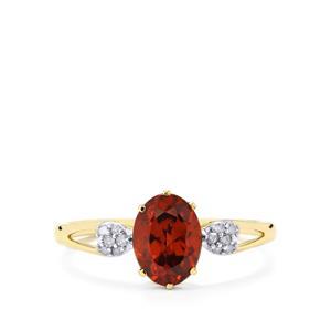 Zanzibar Sunburst Zircon Ring with Diamond in 10k Gold 2.05cts