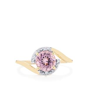 Mawi Kunzite Ring with Diamond in 9K Gold 1.83cts