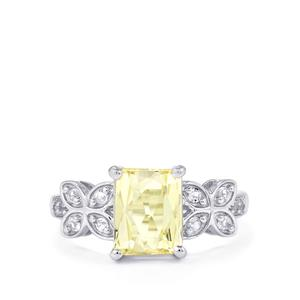 Canary Kunzite & White Topaz Sterling Silver Ring ATGW 2.90cts