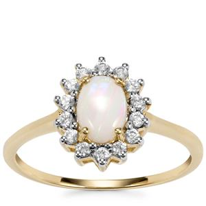 Coober Pedy Opal Ring with White Zircon in 10K Gold 0.70ct