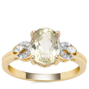 Canary Kunzite Ring with White Zircon in 9K Gold 2.59cts