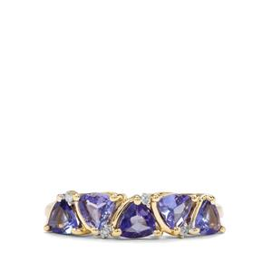 AA Tanzanite & Diamond 9K Gold Ring ATGW 1.03cts