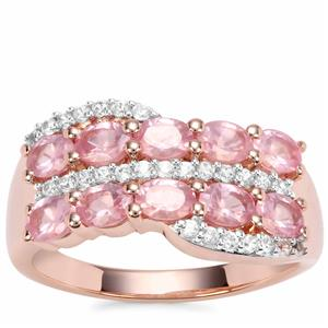 Mozambique Pink Spinel Ring with White Zircon in Rose Gold Vermeil 2.36cts