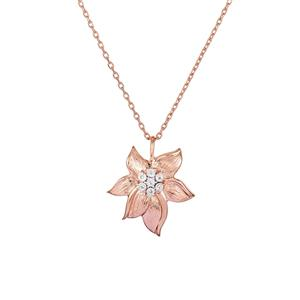 Diamond Necklace  in Rose Gold Plated Sterling Silver 0.02ct