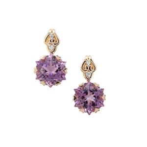 Wobito Snowflake Cut Bahia Amethyst Earrings with Diamond in 9K Gold 4.15cts