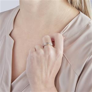 Ceylon Zircon Ring with White Zircon in 10k Gold 0.77ct