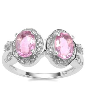Natural Pink Fluorite Ring in Sterling Silver 1.98cts