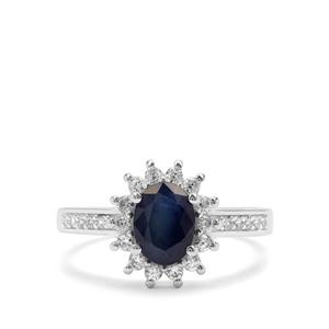 Kanchanaburi Sapphire & White Zircon Sterling Silver Ring ATGW 2.12cts